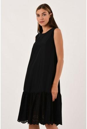 Modagusto Eteği Fistolu Siyah Elbise